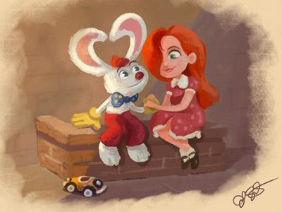 Amor Cinematico - Mr & Mrs Rabbit love characters cute vintage friends kids redhead rabbit photoshop valentines couple illustration
