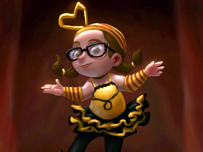 Blind Melon photoshop bee girl cute play stage cartoon dance perform red curtain illustration character