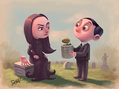 Little Addams morticia thing movies character love creepy addams family gomez addams digital painting photoshop illustration