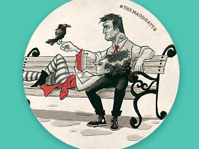Frank N Bride Park Coaster frankenstein raven crow monster sketch vintage design cartoon character photoshop illustration