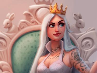 Queen City Characters throne crown royal logo good queen white queen wonderland alice in wonderland queen pinup cartoon character photoshop illustration