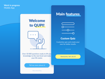 Work in progress – Qupi App Onboarding slider icons apple android ios sketch onboarding qupi app