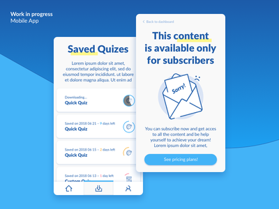Work in progress – Qupi App Quizes saved ux ui sketch progress icons ios apple app android