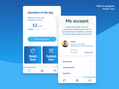 Work in progress – Qupi App Dashboard My account icons navigation tabs profile account dashboard ux ui app apple ios andorid