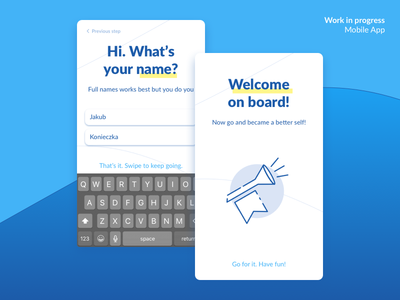 Work in progress – Qupi App Sign up illustration icons type welcome swiping form up sign app ios android