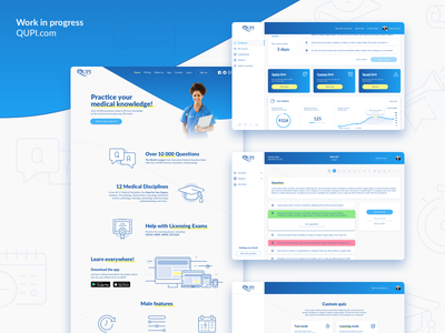 Work in progress – Qupi Site set icon icons customize creator landing page dashboard bank quiz question medical site