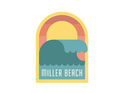 Miller Beach Sticker branding minimal sticker logo surf wave beach