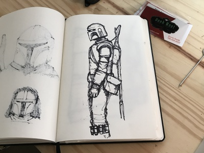 Mando draw sketchbook sketch bobafett starwars mandalorian