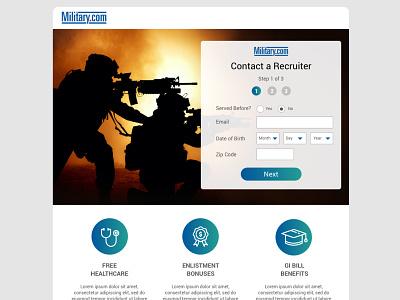 Military.com Recruitment Page design icon responsive webdesign website landing page uiux ui
