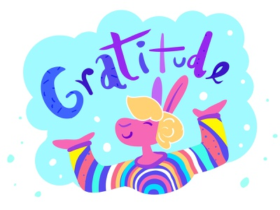 Gratitude sweater illustration lettering thankful rainbow rabbit gratitude