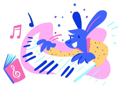 Learnin' something new musical keyboard fun illustration rabbit music piano
