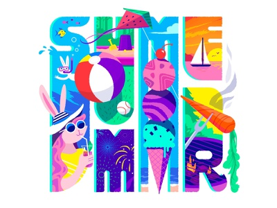 Summer! grill ice cream summertime sailboat beach fireworks swimming lettering typography rabbit illustration summer