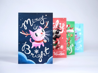 MSPCA 2018 Holiday Cards illustration meow winter christmas reindeer cat card holiday
