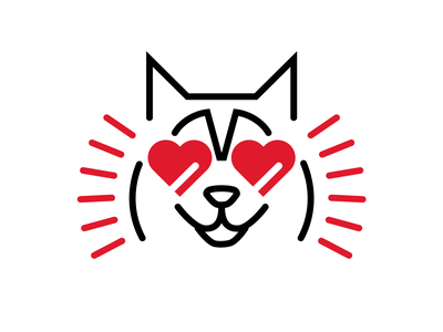 Puppy love logo husky dog