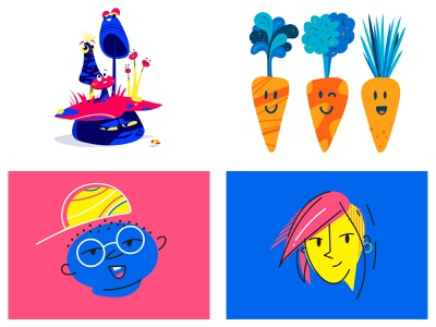 #Top4Shots of 2018 illustration faces people mushrooms carrots