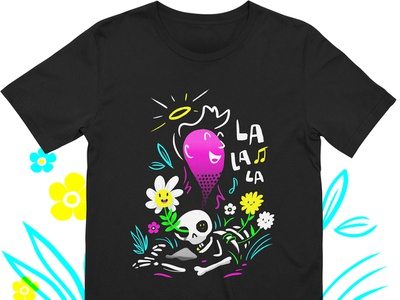 Life Goes On - T-shirt life death halo la la la music flowers ghost skeleton shirt threadless