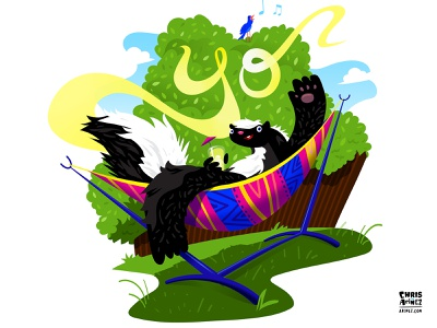 Skunk in Hammock chirp bird spring hammock yard skunk illustration