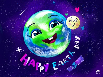 Happy Earth Day! illustration satellite space stars planet moon earth day earth