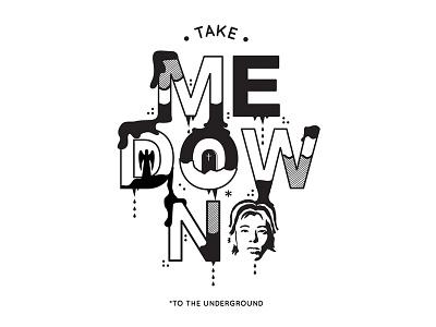 Take Me Down illustration type mono black and white smashing pumpkins