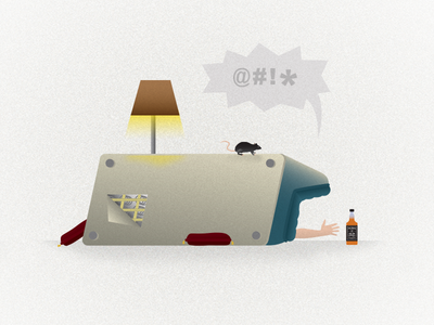 Like a rat in a trap illustration editorial vector