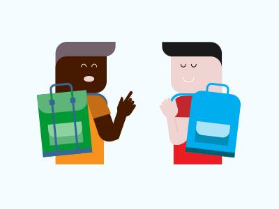 2 University Dudes Conversing illustration vector students