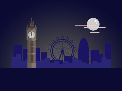 London Town Night london night vector art big ben flat