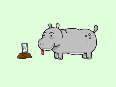 Hippo Self Timer Selfie animals hippo illustration selfie