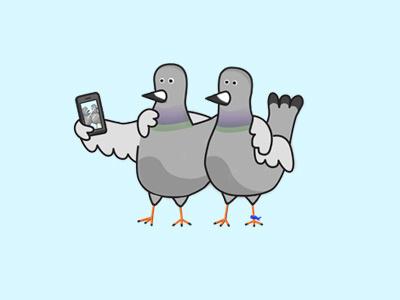 BPFs for LYF pigeons illustration selfie birds friends