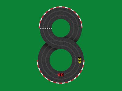 Figure of 8 8 type nostalgia illustration vector scalextric