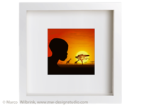 White Frame African Sunset Illustration