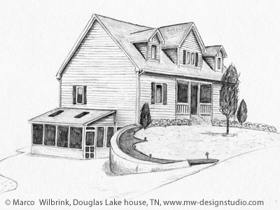 Douglas Lake House Pencil Drawing By Mw Design Studio