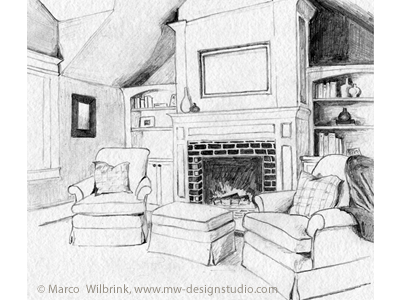 Interior Pencil Drawing By MW Design Studio