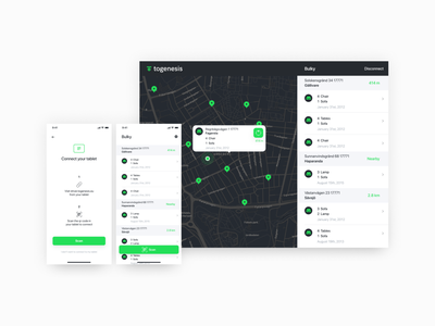 The driver app and the paired app on the tablet typography green minimal user interfaces user interface design ux interaction ui layout app design ipad tablet app