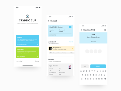Cryptic Cup UI - Contest mobile android ios solo menu home contest app ux layout interface design color ui mono startup minimal