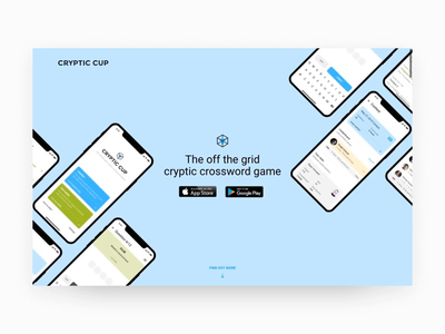 Landing for Cryptic Cup site game startup illustration typography app ux interface color web animation digital mono. layout clean minimal landing