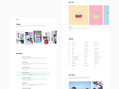 Our culture page way office awards manifesto concept photos illustration interaction ui color websites interface minimal layout webdesign web website mono. culture