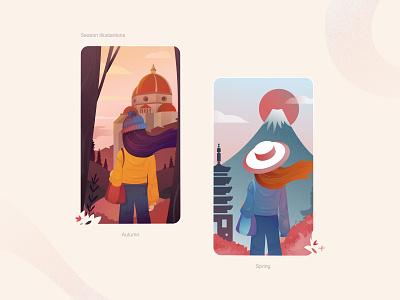 Seasons Illustartion graphic vector app website web ux design illustration ui