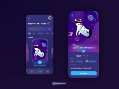 NFT Marketplace App illustartion cat app ui tokens blockchain nft crypto app ui design