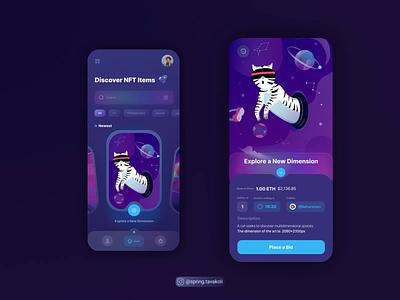 NFT Marketplace App illustartion cat app ui tokens blockchain nft crypto app ui design