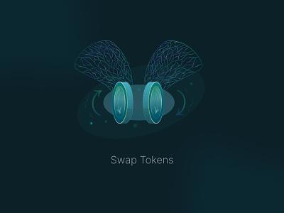 Swap Token UI binance exchange decentralized exchange blue darkmood coin token fly damselfly illustration cryptocurrencies crypto defi nft blockchain swap