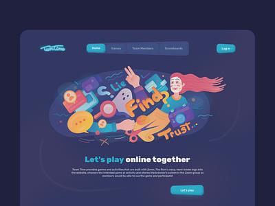 Online Game design web illustration play online game ui