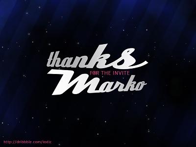 Thanks Marko iodic thanks invite stars