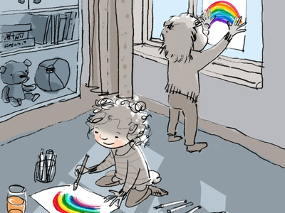 window rainbows rainbow nhs lockdown childrens illustration stayhome illustration