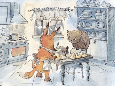 Fox and owl baking