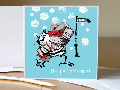 Christmas card owl taking presents to the post office