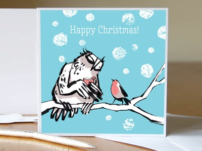 Christmas card owl and robin