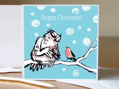 Christmas card owl and robin
