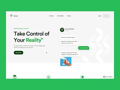 ✨ Bonsai Landing Page ✨ minimal typography web chatbot mindset green bonsai website design landing page website interface design ux ui
