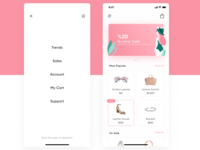 Shopping app UI + Illustration