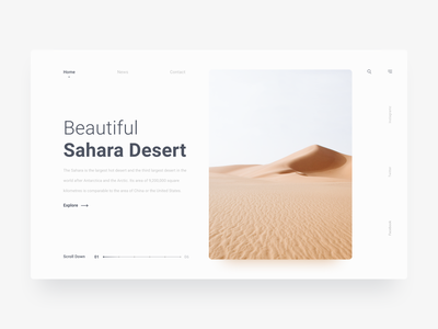 Beautiful Sahara Desert white desert interface site web design ux ui